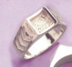 Sterling Silver Men's Ribbed Style Blank Ring Shank Size 8-14