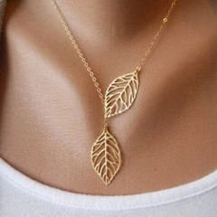 Golden Double Leaf Necklace
