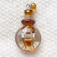 Lovely Murano Lampwork Amber Glass Perfume Bottle