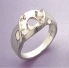 6.5mm Round Sterling Silver Men's Pre-Notched Illusion Style Ring Setting Size 7-14