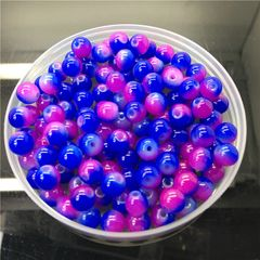 100 Pieces 4mm Round Double Color Glass Beads