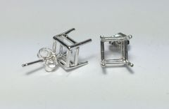 Two Sterling Silver Square (4-Prong) Wire Pre-Notched Earring Settings (6x6mm-11x11mm)