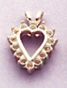 14kt Gold or Sterling Silver Heart Fancy Pendant Setting