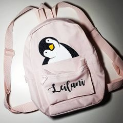Penguin personalised backpack. cute mini size. Pink, Blue or grey