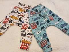 Handmade Toot Toot leggings - cars, buses, vehicles, transport.