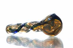 """GP12 - 4"""" Twisted Color Changing Glass Pipe With Dichro Stripe"""
