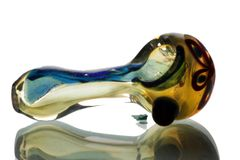 """GP05 - 3"""" Color Changing Glass Pipe With Flower Design And Dichro Stripe"""
