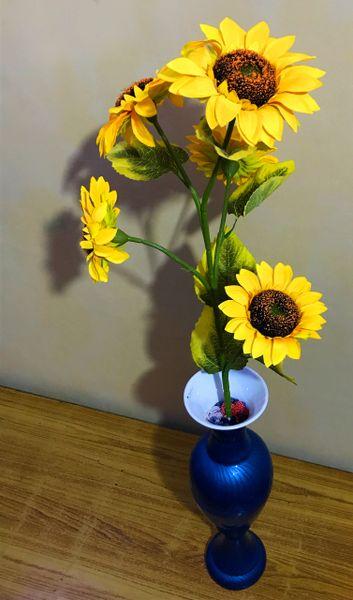 Designer Aluminium Flower Vase Blue Colour Unbreakable 21 Inch