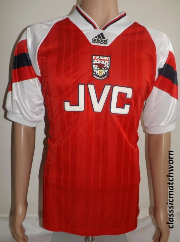 1992 Home Match Arsenal Football Shirt 19 Adidas Worn wSrS4xqt