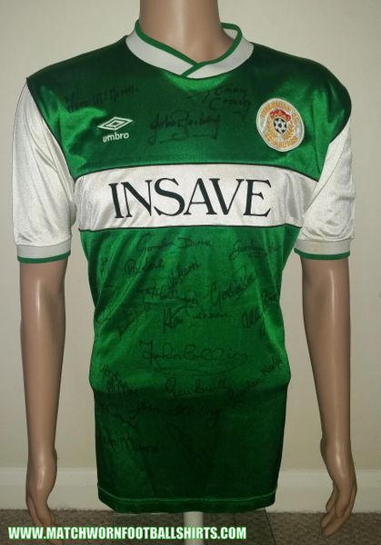 46c93e697 1985 86 HIBERNIAN MATCH WORN UMBRO HOME SHIRT  11