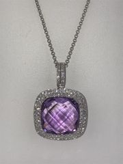 14KT WHITE GOLD DIAMOND AND AMETHYST PENDANT