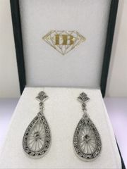 STERLING SILVER CRYSTAL AND MARCASITE FILIGREE EARRINGS