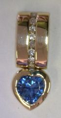 14KYG Slide Heart Blue Topaz and Diamond