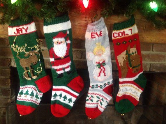 hand knit christmas stockings with moose santa angel horse - Knitted Christmas Stockings