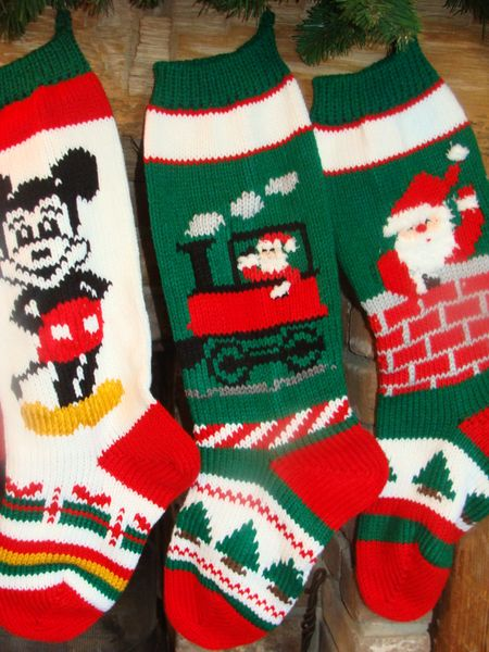 hand knit christmas stocking with mickey mouse santa on train santa in chimeny - Mickey Mouse Christmas Stocking