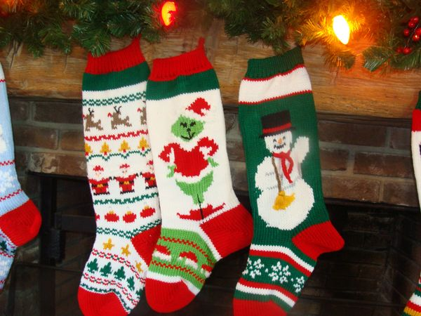 hand knit christmas stocking with sweater pattern grinch snowman - Knitted Christmas Stockings