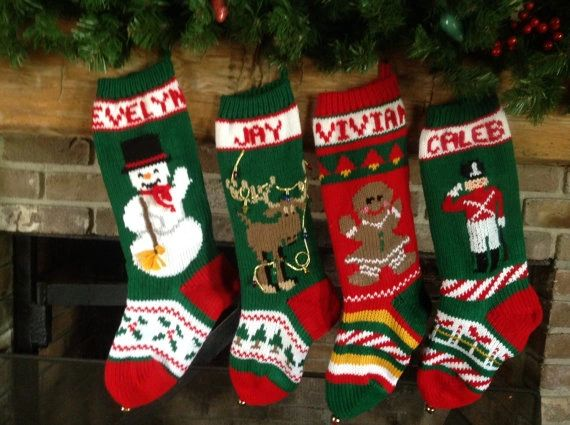 hand knit christmas stockings with snowman moose gingerbread girl toy soldier - Moose Christmas Stocking