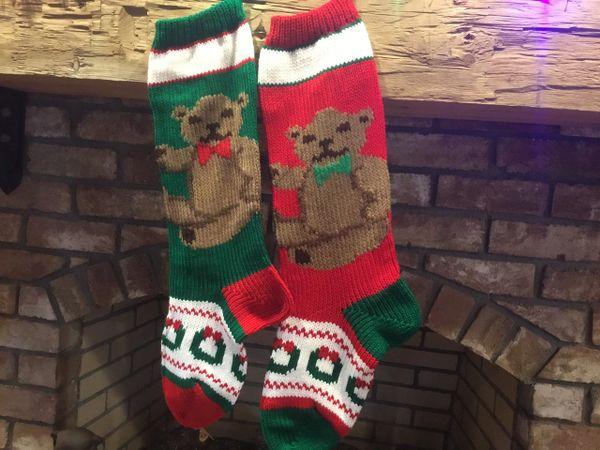 green teddy bear christmas stockings