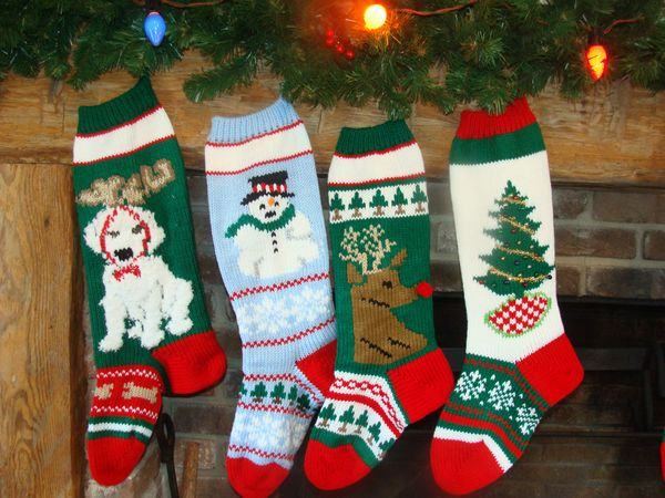 hand knit christmas stocking with dog snowflake snowman reindeer head christmas tree - Knitted Christmas Stockings