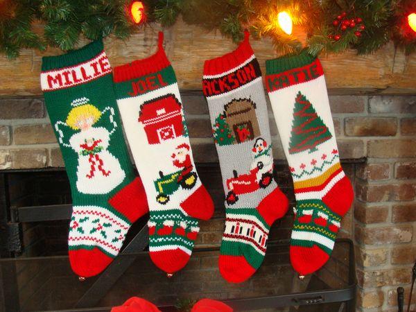 hand knit christmas stocking with angel santa on tractor snowman on tractor christmas tree - Knitted Christmas Stockings