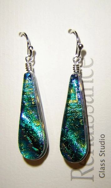Teal/green dichroic glass earrings, sterling silver wires