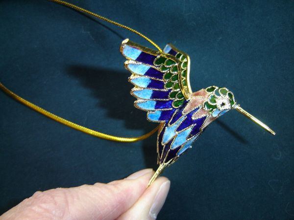 Cloisonné hummingbird Christmas ornament blue and green