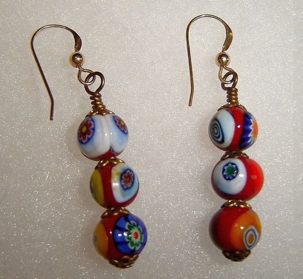 Murano Glass Millefiori Dangle Earrings - 3 fused glass floral beads