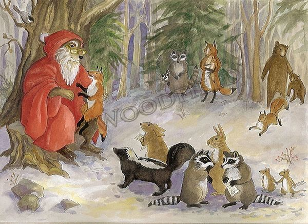 Father Christmas and the Forest Animals - 12-card set
