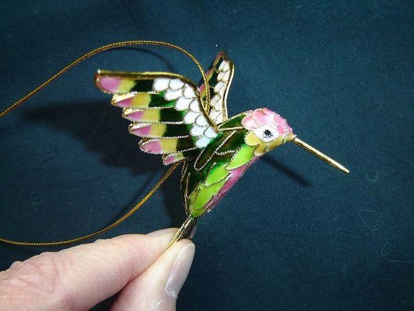 Cloisonné hummingbird Christmas ornament pink, green, yellow