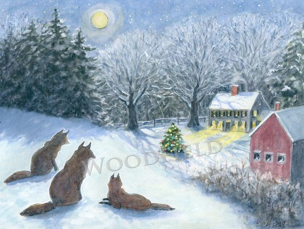 Foxes watch over the holy night on Christmas Eve - 12-card set