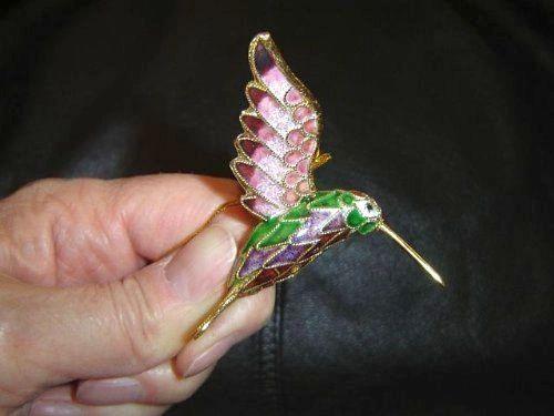 Cloisonné hummingbird ornament, lavender, rose, green