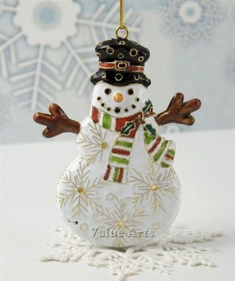Cloisonné Frosty the Snowman Christmas tree ornament