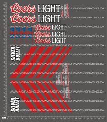 1/10TH MONSTER TRUCK - COORS LIGHT SILVER BULLET DECALS