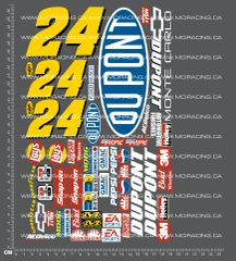 1/10TH NASCAR - DU PONT JEFF GORDON DECALS