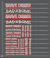 1/10TH MONSTER TRUCK - DIGGER BAD TO THE BONE DECALS
