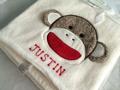 Baby Blanket Sock Monkey Appliqué