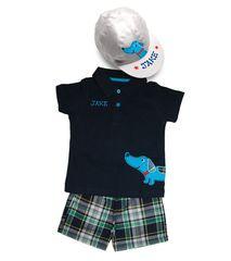 Boys Polo & Shorts & Baseball Cap Set