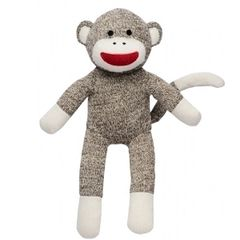 "Sock Monkey 12"" Plush Friend with Rattle"