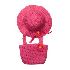 Flower Hat and Beach Bag Set