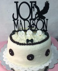 Triple Layer Black & White Formal Replica Cake w/Topper
