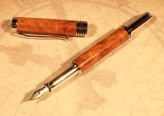 Americana Fountain Pen, Rhodium, Amboyna Burl