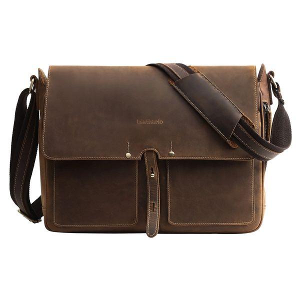 69844618488a Leathario Designual Soft Genuine Leather Briefcase for Men Dark Brown  Laptop Bag Briefcase Handbag Messenger Bag Brown (Brown)
