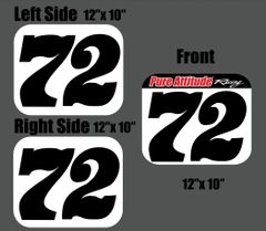 ARMA/AMATEUR FLAT TRACK NUMBERPLATE SETS - One Hard Front And Two Preprinted Side Stickers