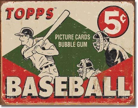 Topps Baseball Cards Vintage Metal Sign