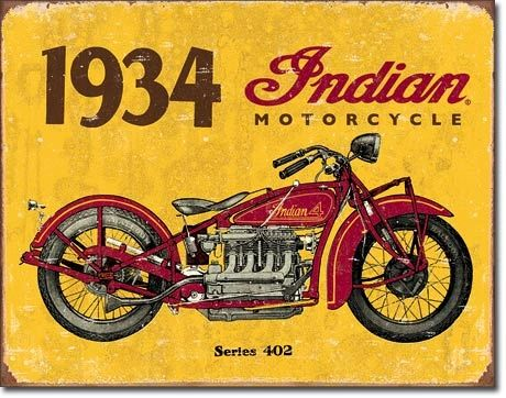 1934 Indian Motorcycles Metal Sign