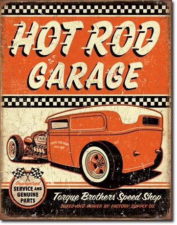 Hot Rod Garage Vintage Metal Sign