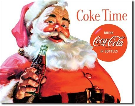 Santa Coke Time Metal Sign