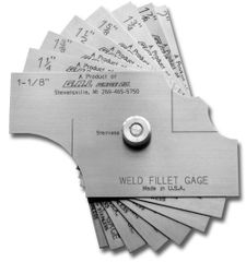 "8-Piece Fillet Weld Set, Fillet Leg & Throat Size: 1 1/8"" to 2"" in 1/8"" increments, Inch or Metric, GG-81"