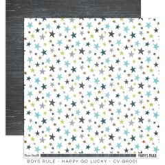 Cocoa Vanilla Studio Boys Rule Happy Go Lucky 12 x 12 Cardstock
