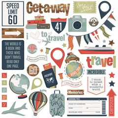 Photo Play Boarding Pass Collection 12 x 12 Cardstock Element Stickers